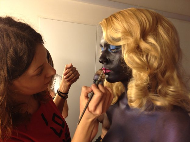 Beauty shoot for SNC. Backstage
