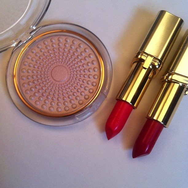 loreal lumi magique powder and color riche lisptick red shades