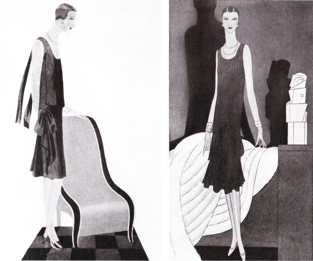 Vogue 1927, январь. Рисунки платьев Chanel. Слева - газовое, справа - атласное