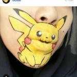 макияж губ с пикачу