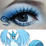 синий макияж глаз с покемоном