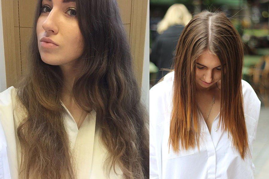 Волосы до и после кератинового выпрямления