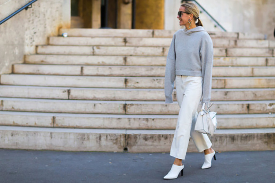 liuy93-l-610x610-shoes-fashion+week+street+style-fashion+week+2016-fashion+week-paris+fashion+week+2016-white+pants-cropped+pants-hoodie-grey+hoodie-athleisure-mules-white+mules-white+shoes-bag