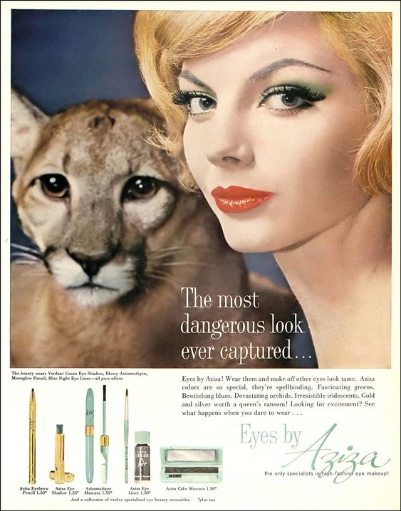 Heather Hewitt, Aziza eye make-up ad, Harper's Bazaar, June 1960